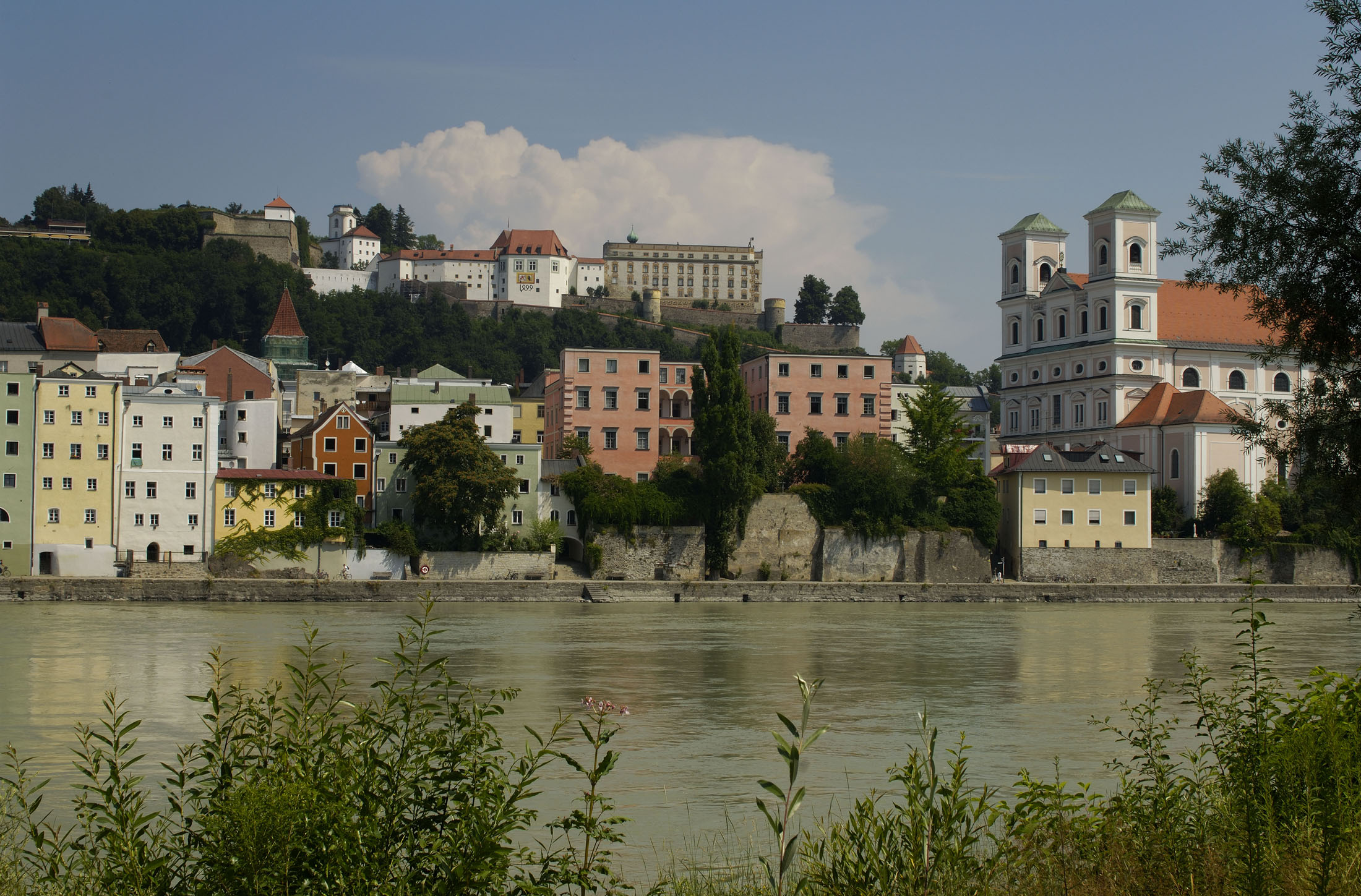 Passau's location is unique worldwide. The city was built on the confluence of three rivers; the Danube, the Inn and the Ilz.