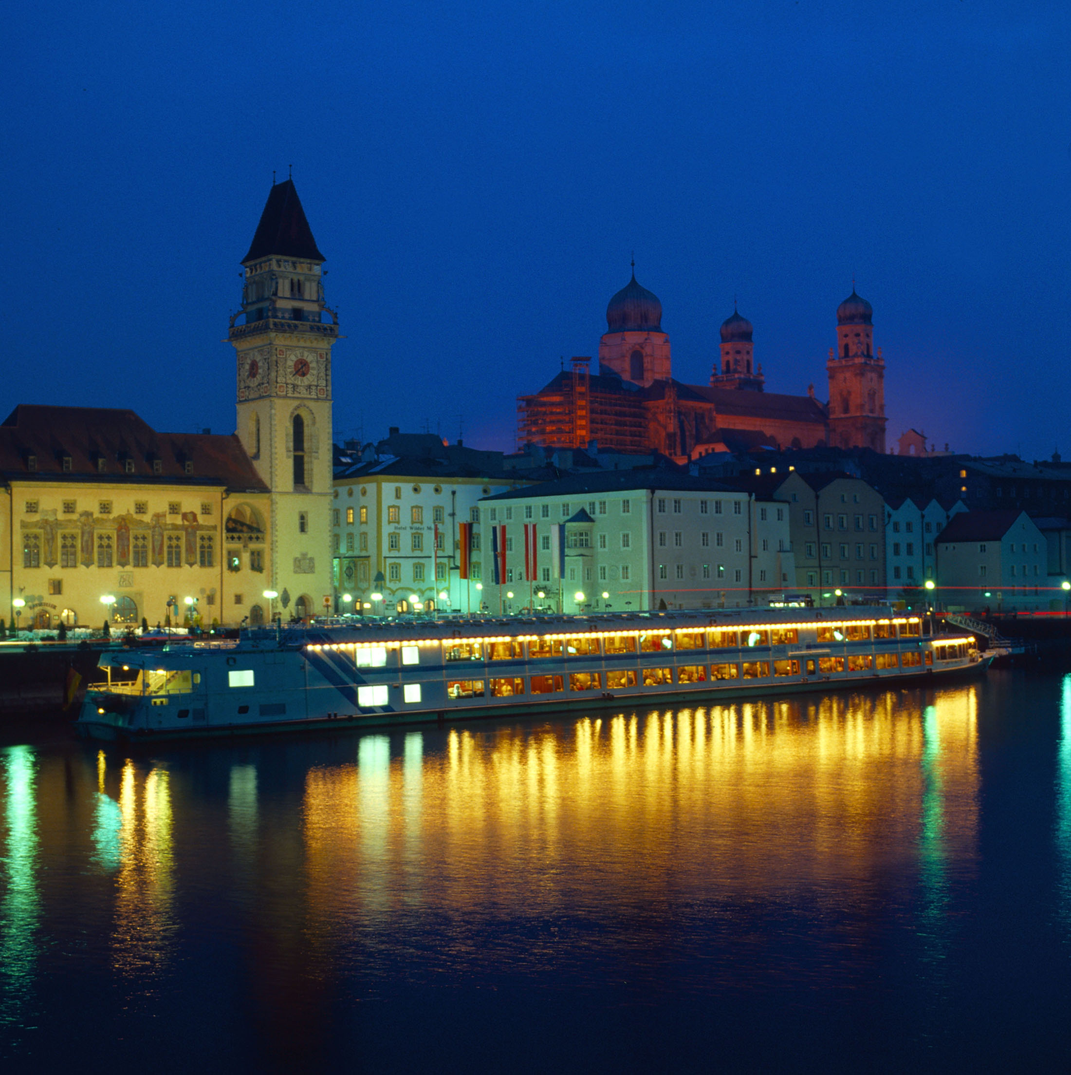 Enjoy an unforgettable view of Passau with its Italian flair and colorful buildings.
