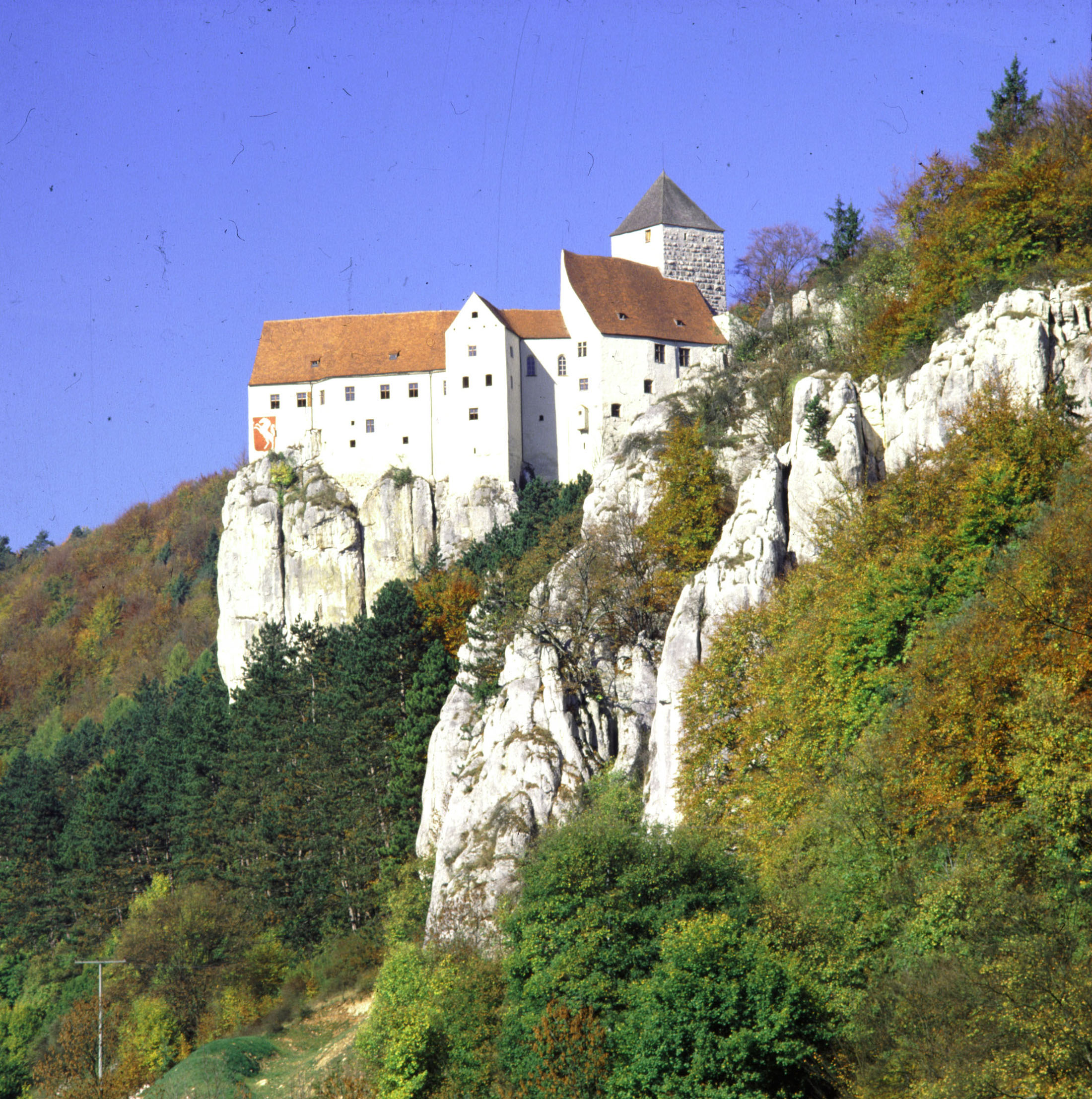 Prunn Castle is perched on an almost vertical Jurassic outcrop.
