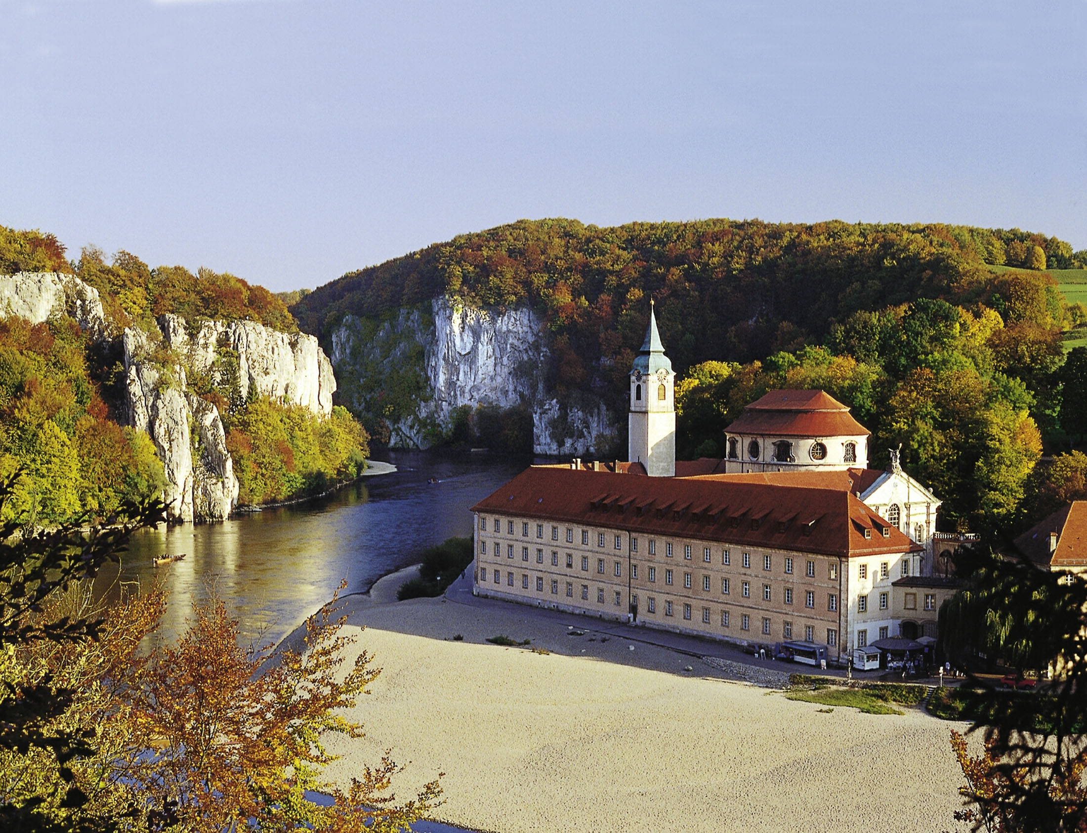 The Weltenburg Abbey is located at the romantic Danube Gorge.