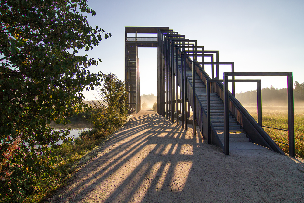 Himmelsleiter im Naturschutzgroßprojekt Waldnaabauen bei Tagesanbruch