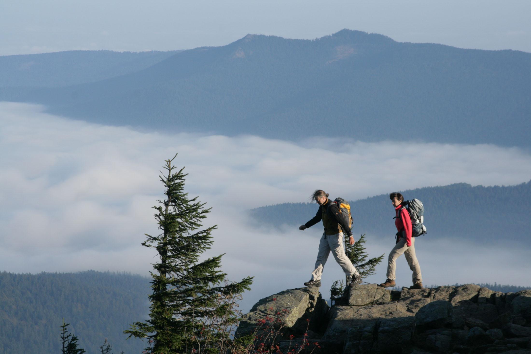 "Germany's longest hikingtrail, the ""Goldsteig"", spans over 660 km through the Bavarian Forest and the Upper Palatinate Forest - Gipfelglück auf dem Fernwanderweg ""Goldsteig"""