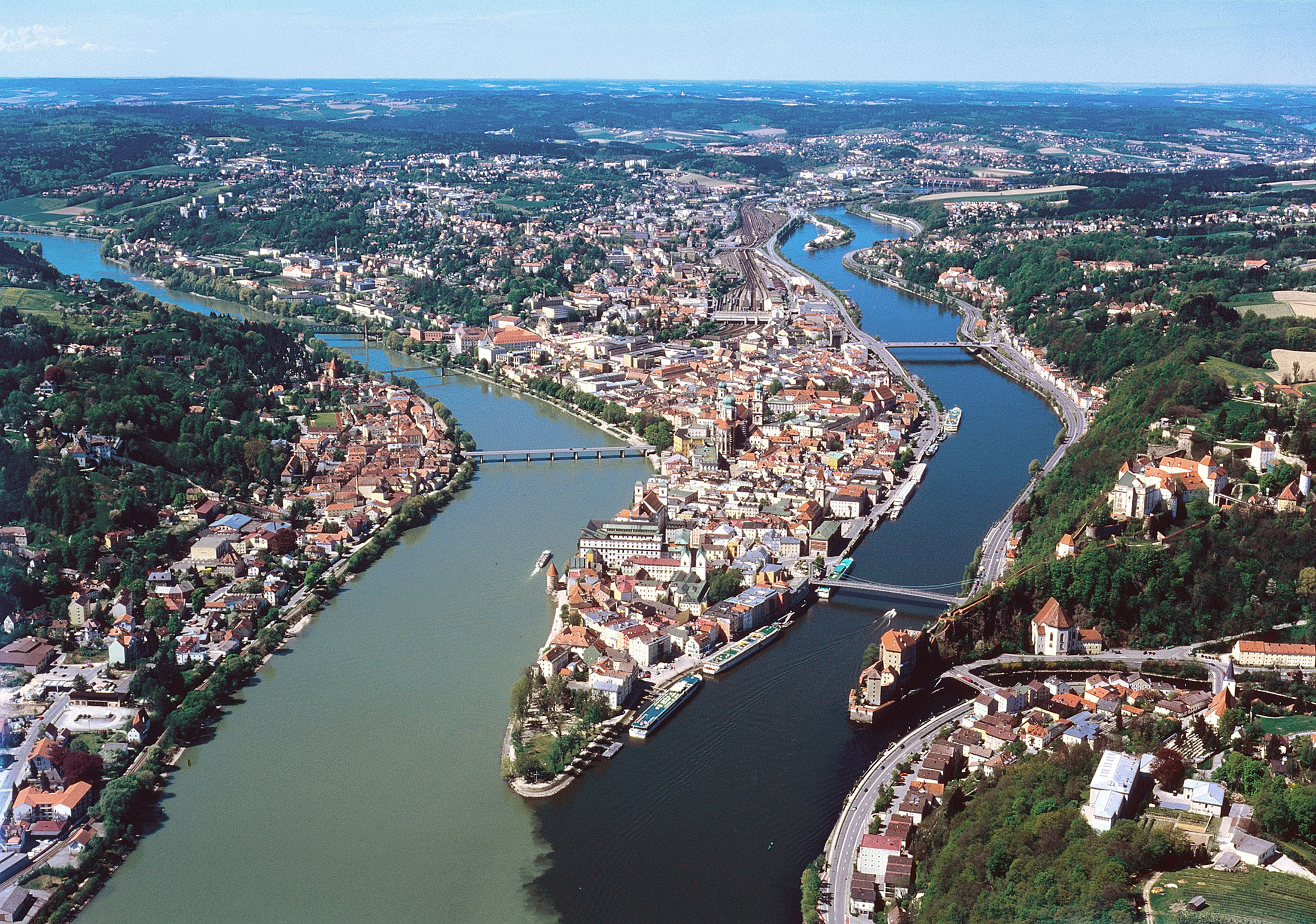 From a boat you can enjoy unforgettable views of Passau