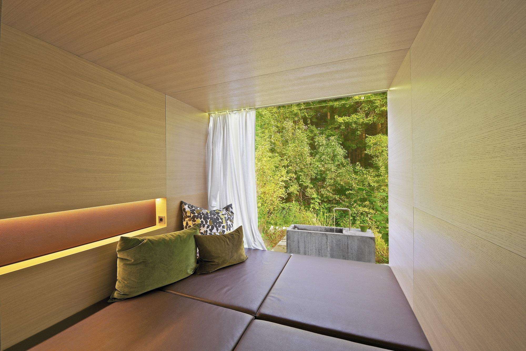 Privater Ausblick in die Wald- und Wiesenlandschaft vom Haus am Wald