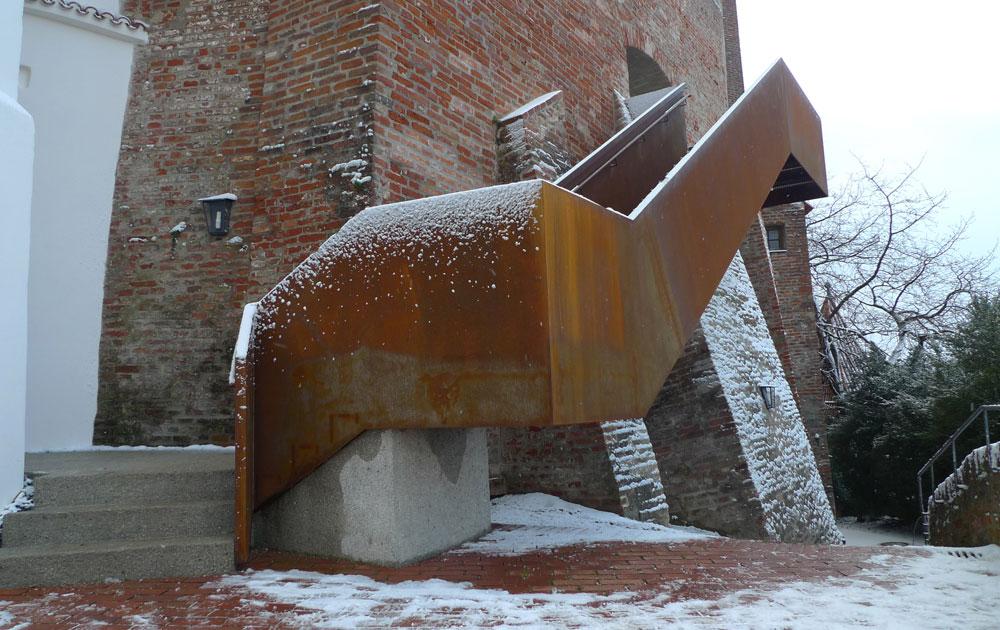 Außentreppe der Burg Trausnitz im Winter