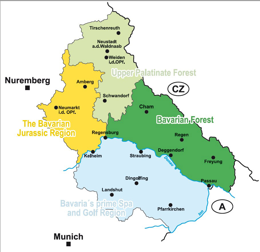 The four tourist regions in East Bavaria