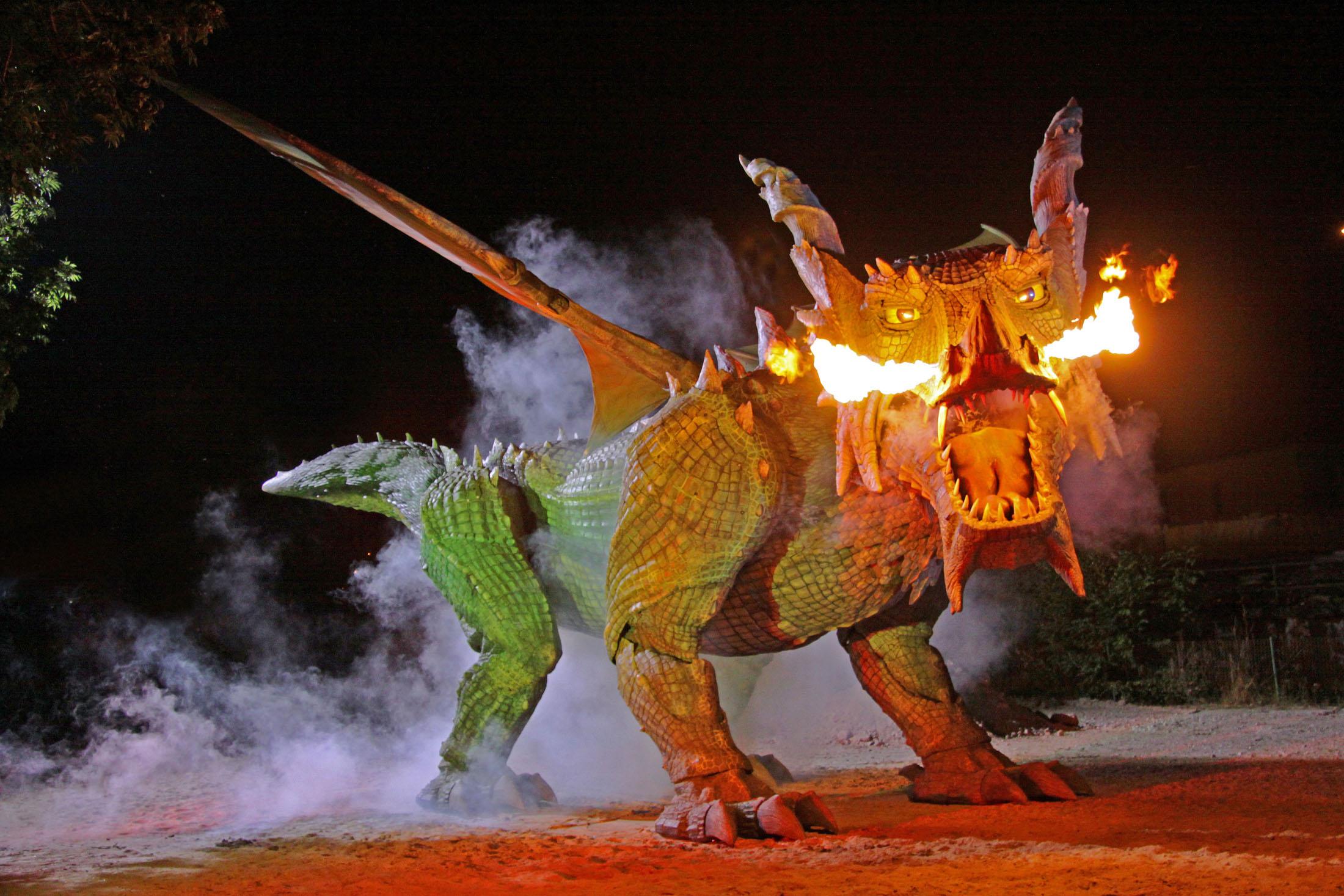 The fire-breathing dragon can also be visited in the summer months - Der Further Drache kann in den Sommermonaten auch in der Drachenhöhle besucht werden