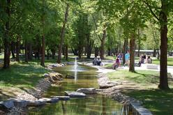 Der Bach schlängelt sich malerisch durch den Kurpark Bad Abbach
