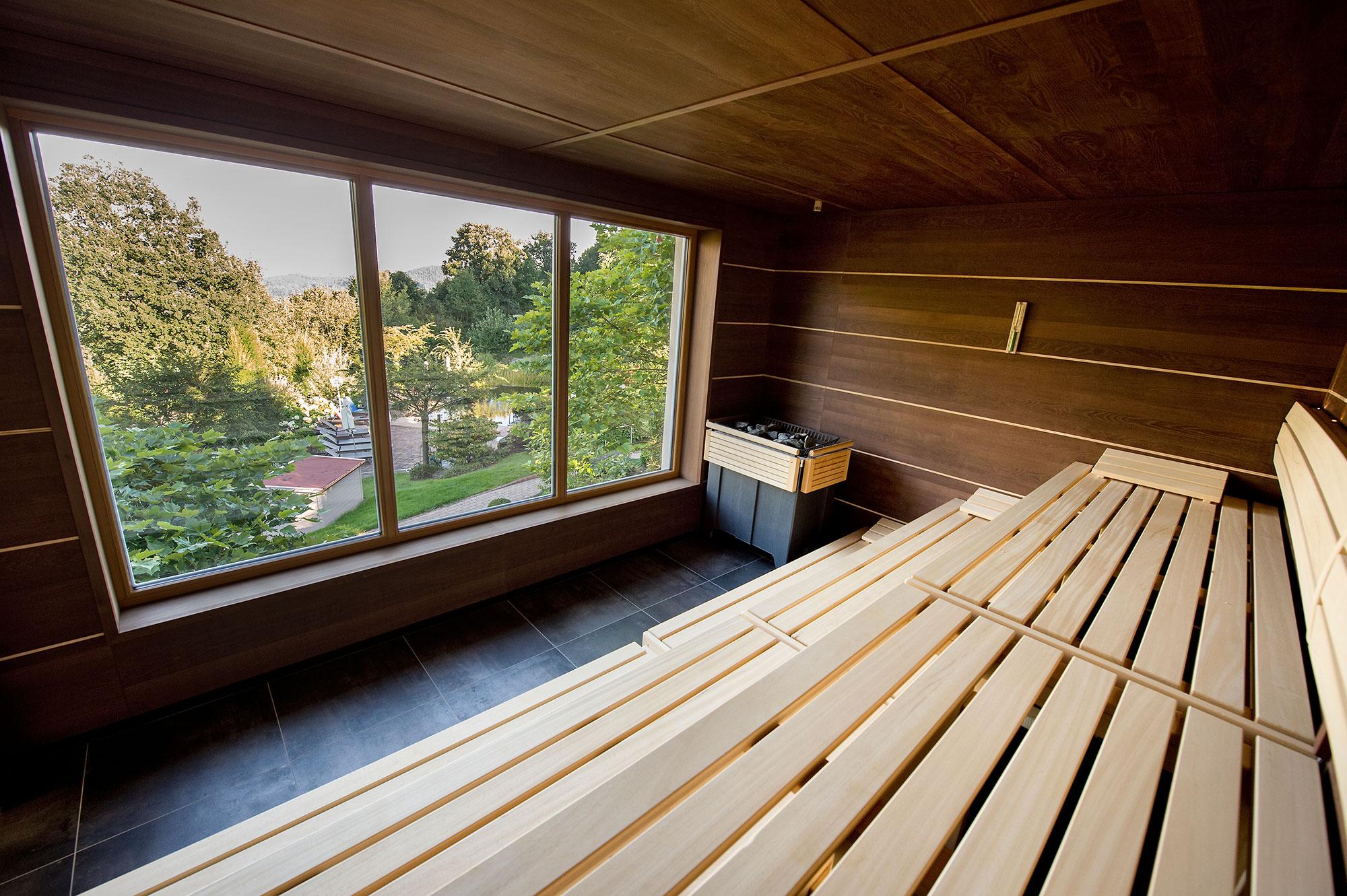 Eine von fünf Saunen im Burghotel Sterr.