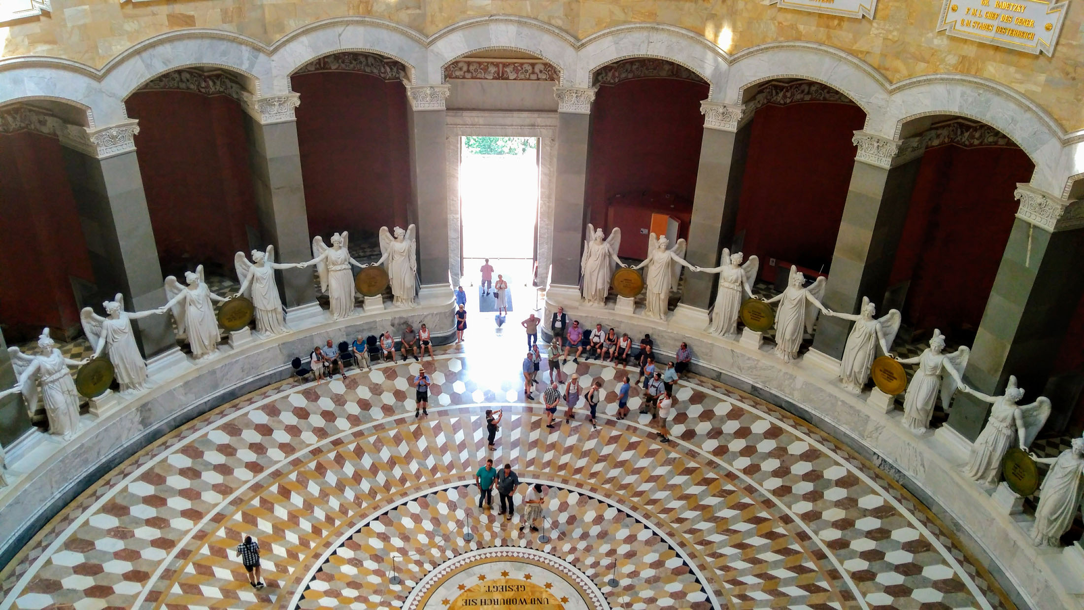 Inside the Hall of Liberation at Kelheim 34 monumental goddesses of victory join hands in a ceremonious round dance.